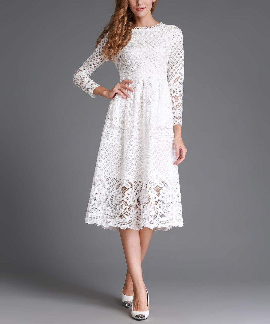 White lace wedding dress with short sleeves  Look at this SSXR White Lace ALine Dress  Plus Too on zulily
