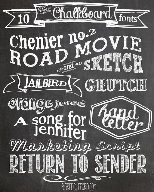 Free Chalkboard Fonts Free Printables Lettertypes Lettertypen Krijt