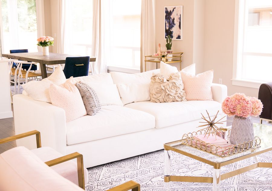 How I Customized My Couch With Interior Define Just A Tina Bit Modern Glam Living Room Pink Living Room Glam Living Room