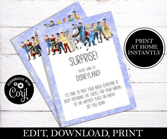Surprise You're Going To Disney Letter, Disney Vacation Announcement, Going to Disneyland Letter from Princes, For Boy, EDITABLE