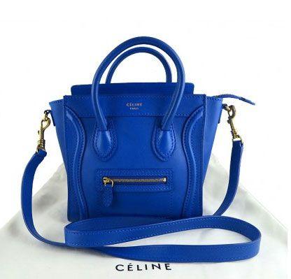 Celine Nano leather shopper tote in cobalt blue 07fc4e3db8460