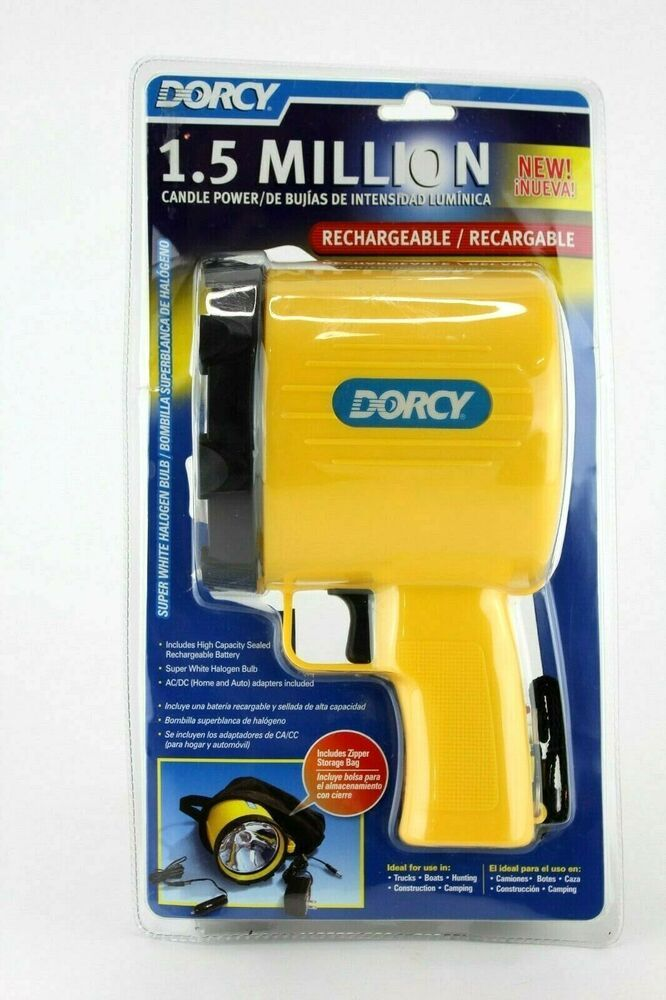 Dorcy 1 5 Million Candle Power Spotlight Rechargeable W Storage Bag New Sealed Dorcy Candle Power Bag Storage Candles