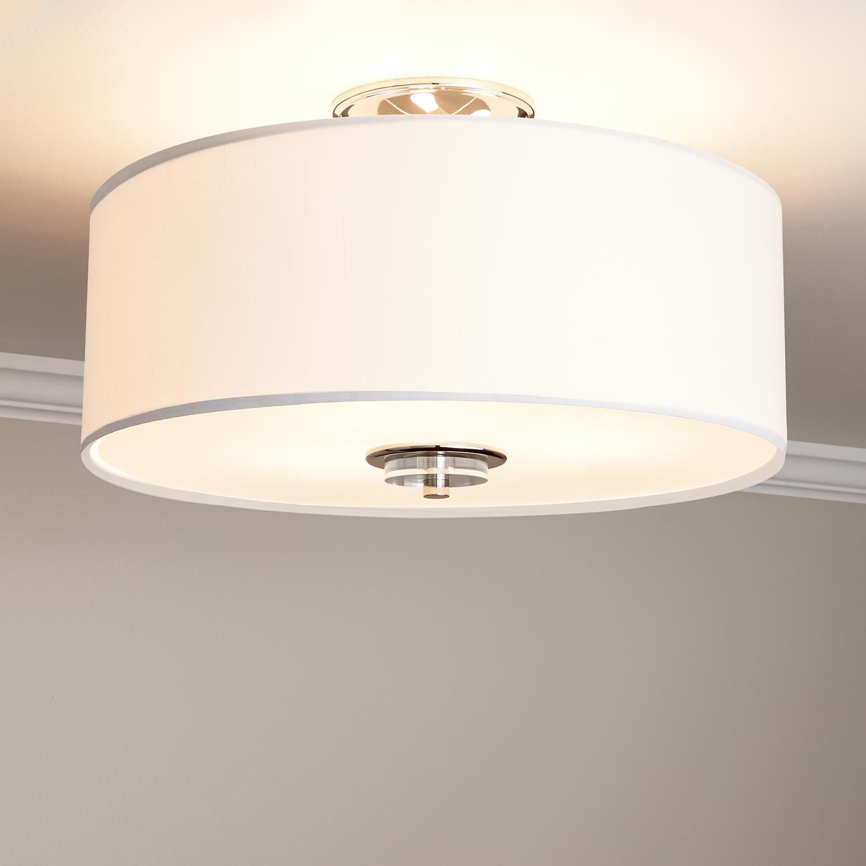 Bankloft 3 Light Semi Flush Mount Drum Light Polished Nickel Flush Light Fixture Drum Light Flush Mount Ceiling Light Fixtures