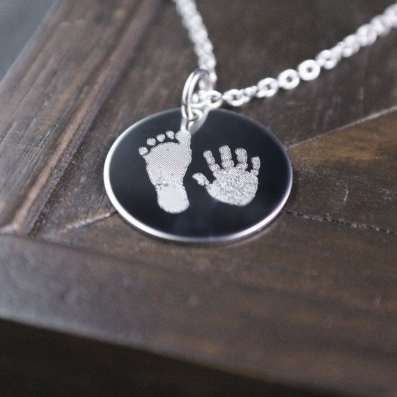 Solid Sterling Silver or Copper Round Pendant Custom Actual Handprint likeness Necklace Hand Print Foot Print Paw Print Footprint Pawprint