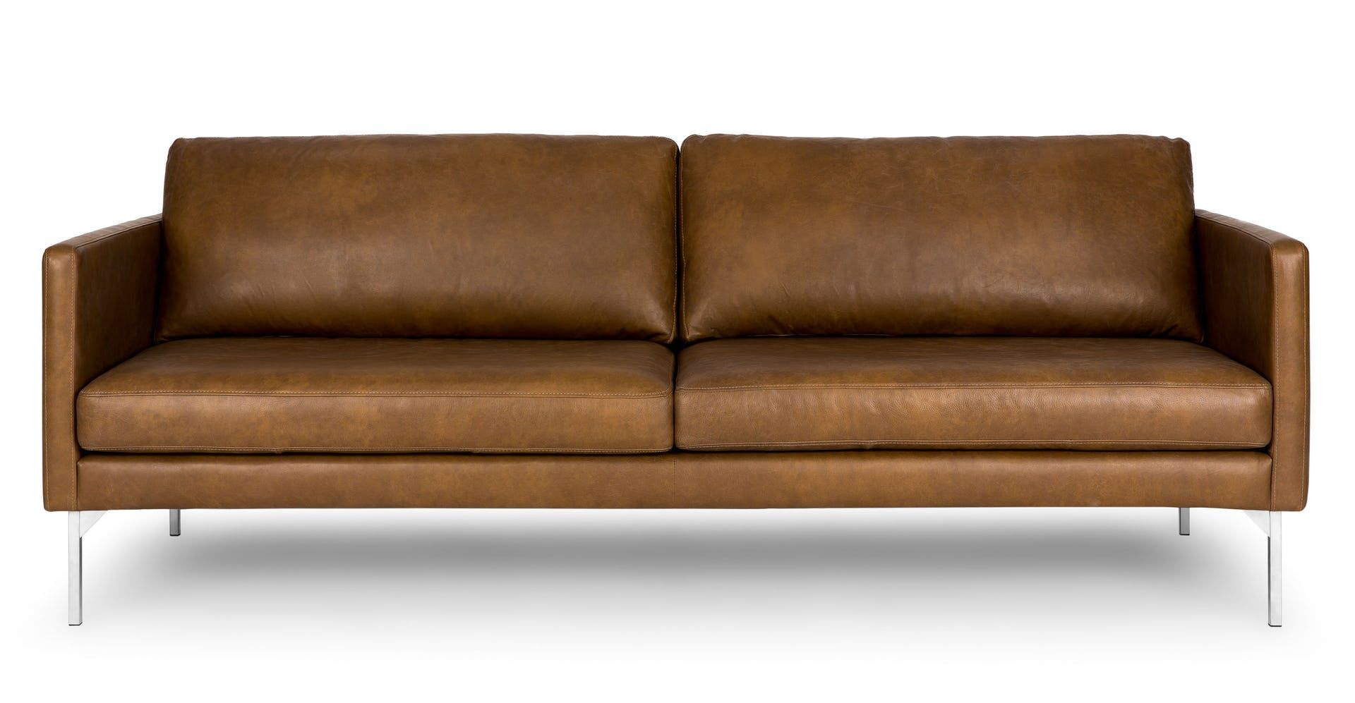 With Its Clean Contemporary Lines The Echo Sofa Is Akin To A Well Made Suit Steel Legs Accentuate The Natural Variat Tan Sofa Modern Leather Sofa Leather Sofa