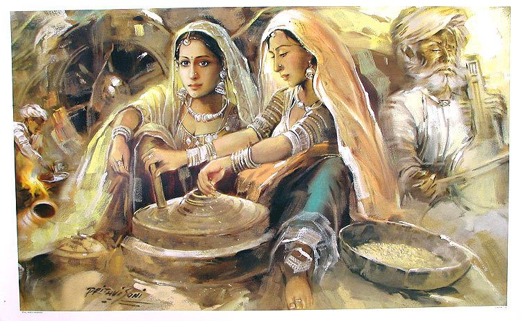 Village Scene Of Rajasthan Reprint On Paper