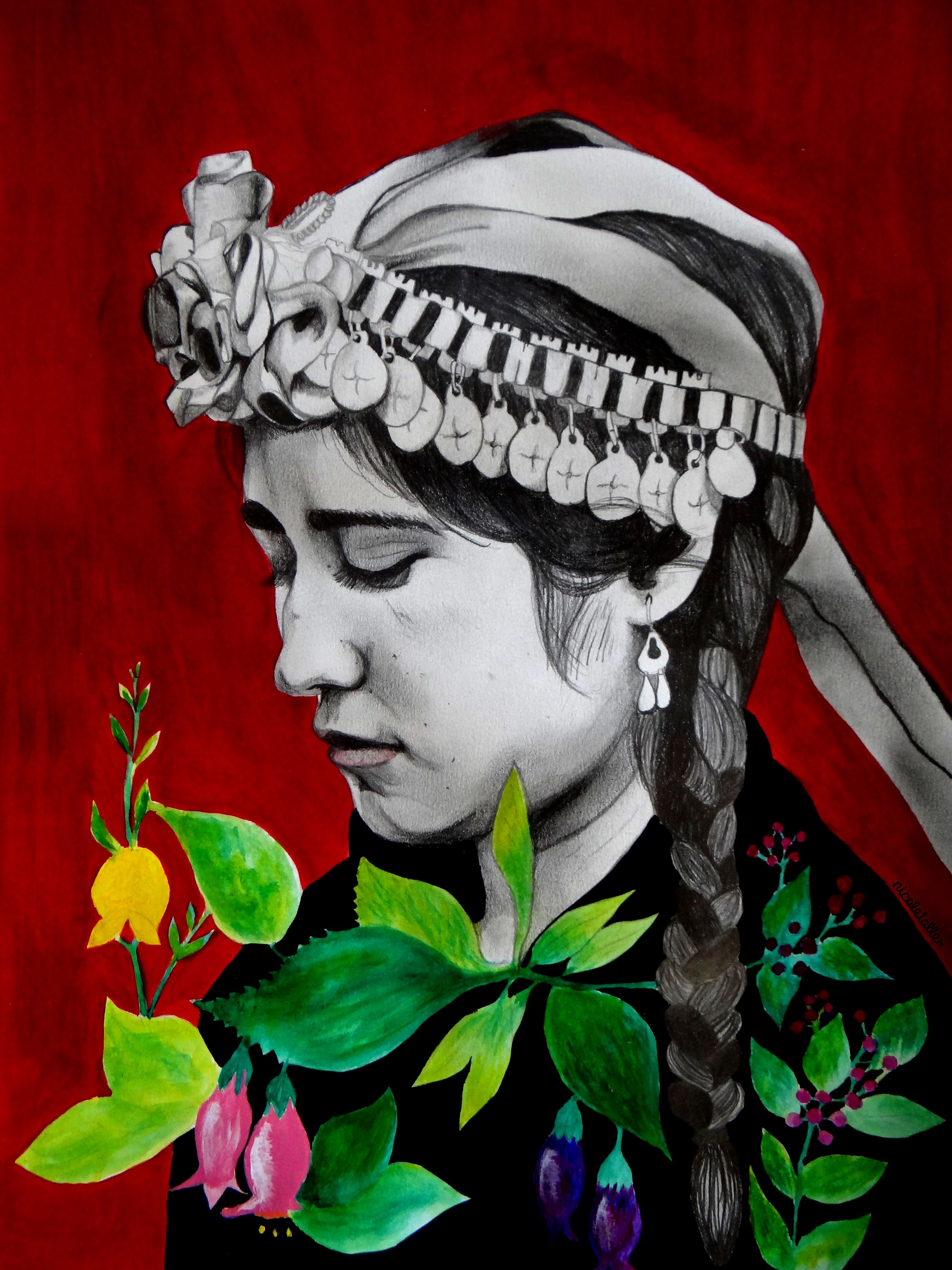 Mujer Mapuche By Nicoletaller Mujer Mapuche Arte Mapuche Dibujos Mapuches