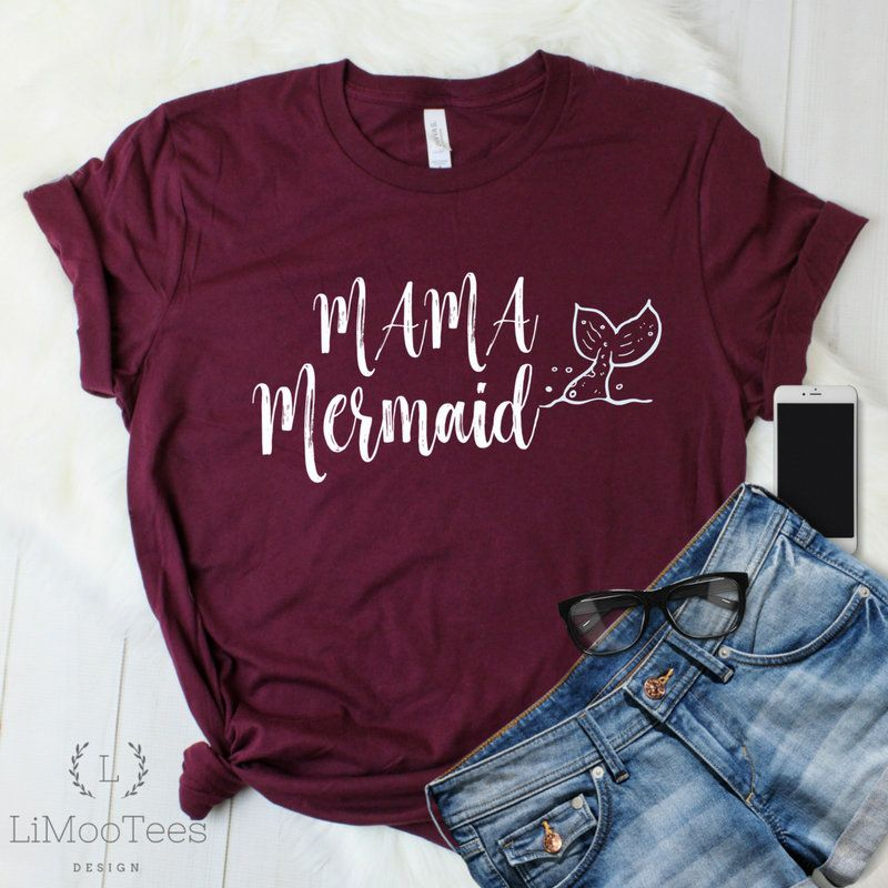 Mama Mermaid T-Shirts for Women Funny Tee Top Clothing Mom Shirt Gift Tee With Saying Quotes Motherhood Mother's Day Favorite Mermaid Party #auntshirts