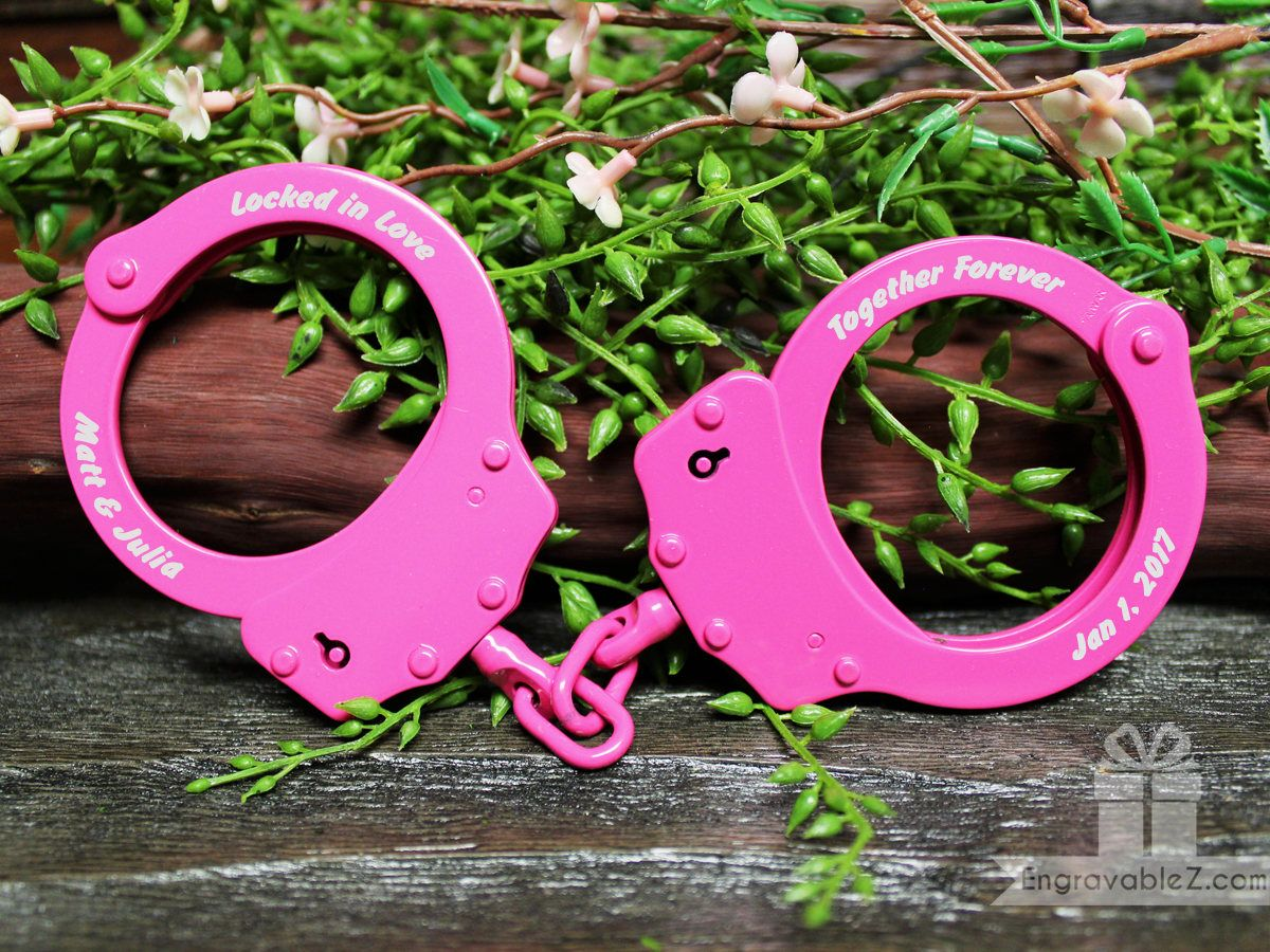 Black engraved handcuffs locked in love etsy gifts