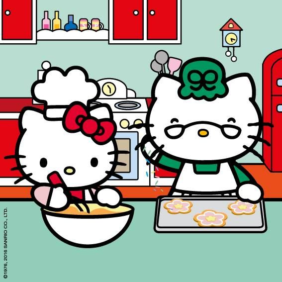 Hello Kitty Is Spending The Day Cooking And Sewing With Grandma
