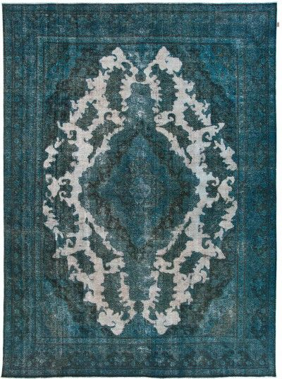 Vintage Teppich in overdyed petrol refreshed - antique look www - wohnzimmer ideen petrol