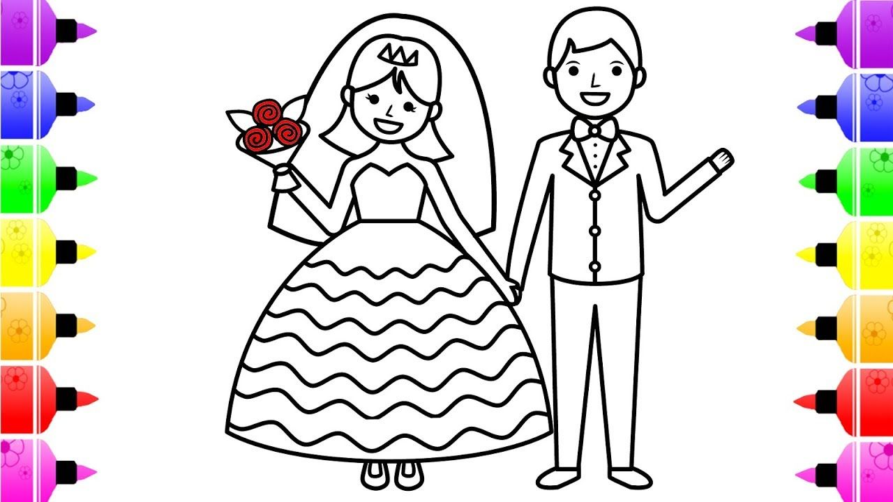Wedding Bride And Groom Coloring Page For Kids With Colored Marker Children S Coloring Book Coloring Pages For Kids Childrens Colouring Book Diy Kids Art