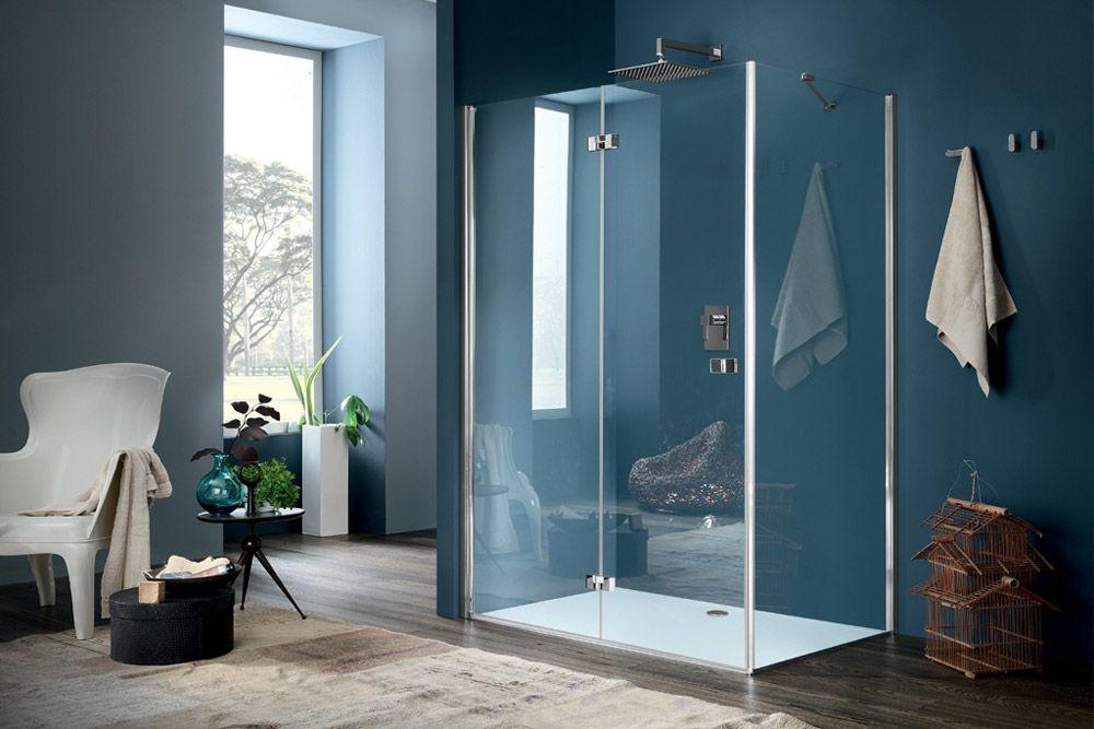 Inda box doccia sim fomato da una parete fissa e da un - Box doccia un anta ...