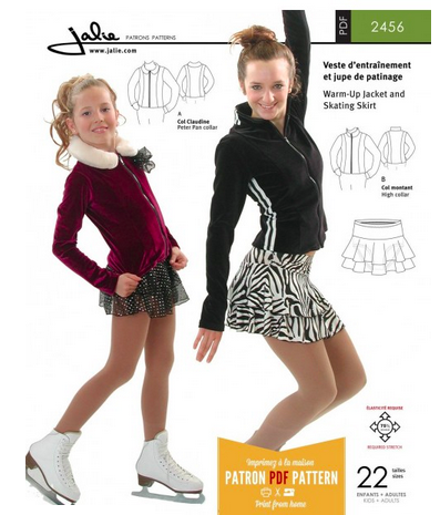 Sewing pattern for ice skating practice essentials Fitted zip-front figure skating jacket with front and back princess seams Choice of collars Peter Pan collar High collar Pull-on tiered circle skirt Yoke at the waist