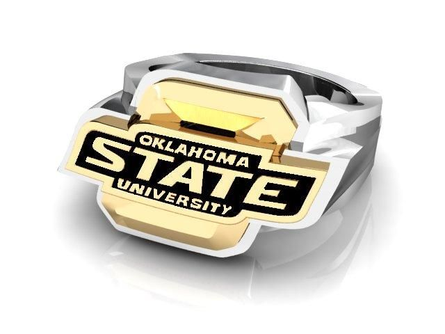 OSU ring men's 14k White and Yellow Gold Oklahoma State University Ring with Bold Black Enamel Accents.