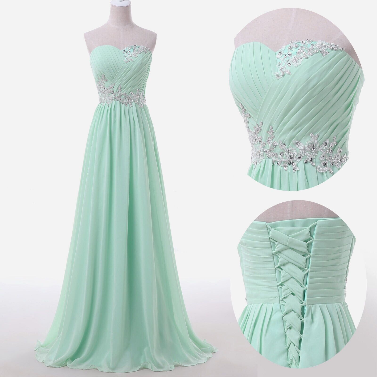 Blue and green prom dress  Sweetheart Sky Blue Mint Chiffon Prom Dresses Lace Beading Sweep