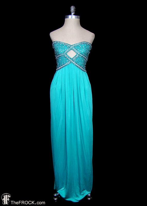 Neiman Marcus beaded jersey gown, strapless sleeveless maxi dress ...