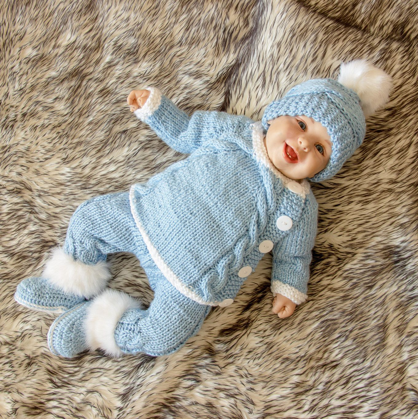 3a0b26d92 Baby boy coming home outfit - Knitted Baby Outfit - Baby boy layette ...