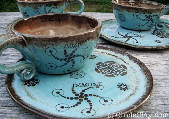 MADE TO ORDER Ceramic Soup Mug Sandwich Plate Set - Wheel Thrown Pottery Soup Mug Shabby Chic Blue Brown Rustic Inspirational & MADE TO ORDER Ceramic Soup Mug Sandwich Plate Set - Wheel Thrown ...