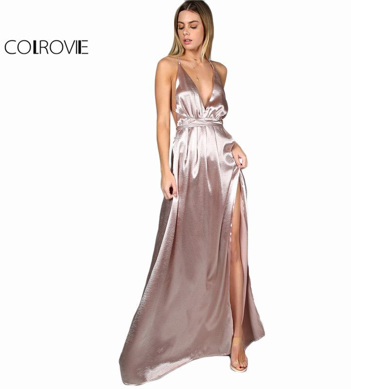 34d0e4f40b89c Maxi Party Dress Pink Plunge Neck Sexy Cross Back Wrap High Slit ...
