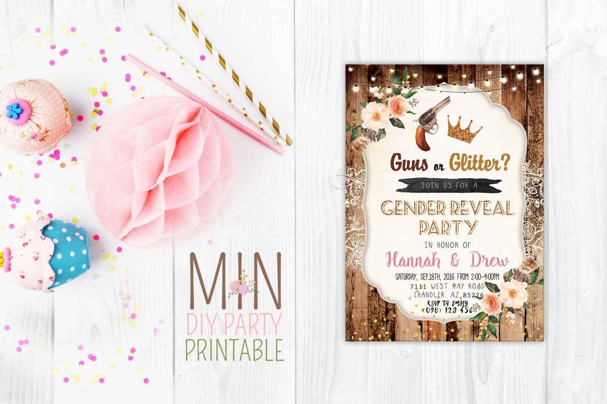 boy baby shower invitations australia%0A Guns or Glitter gender reveal card Gender Reveal or Baby Shower Sweet  Little Boy