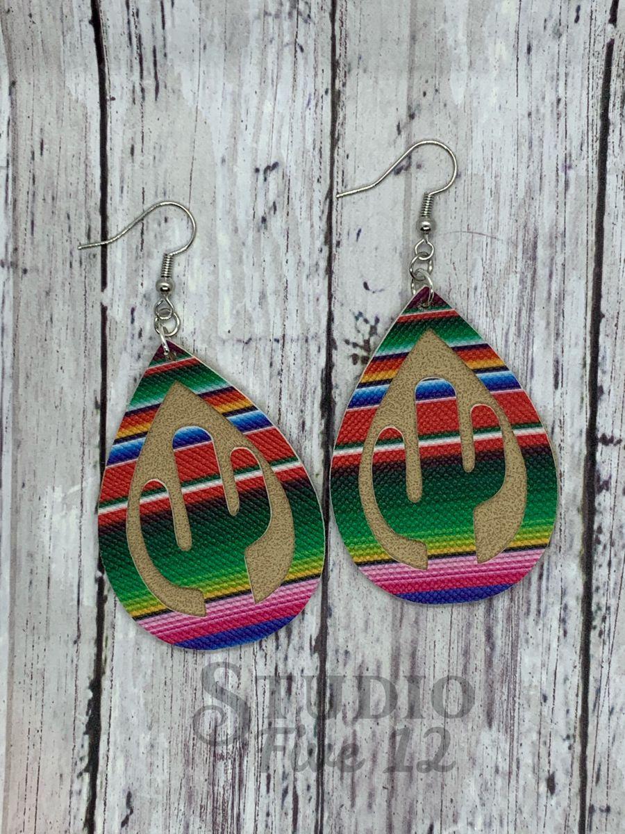 Teardrop Design Cactus Pattern Earrings Faux Leather