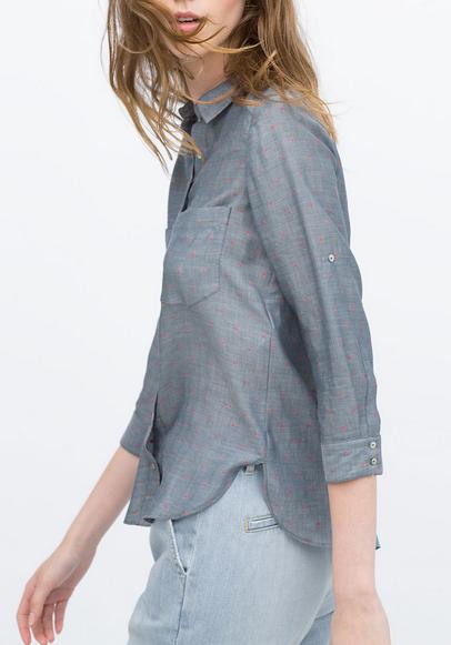 Zara Coral Polka Dot Shirt