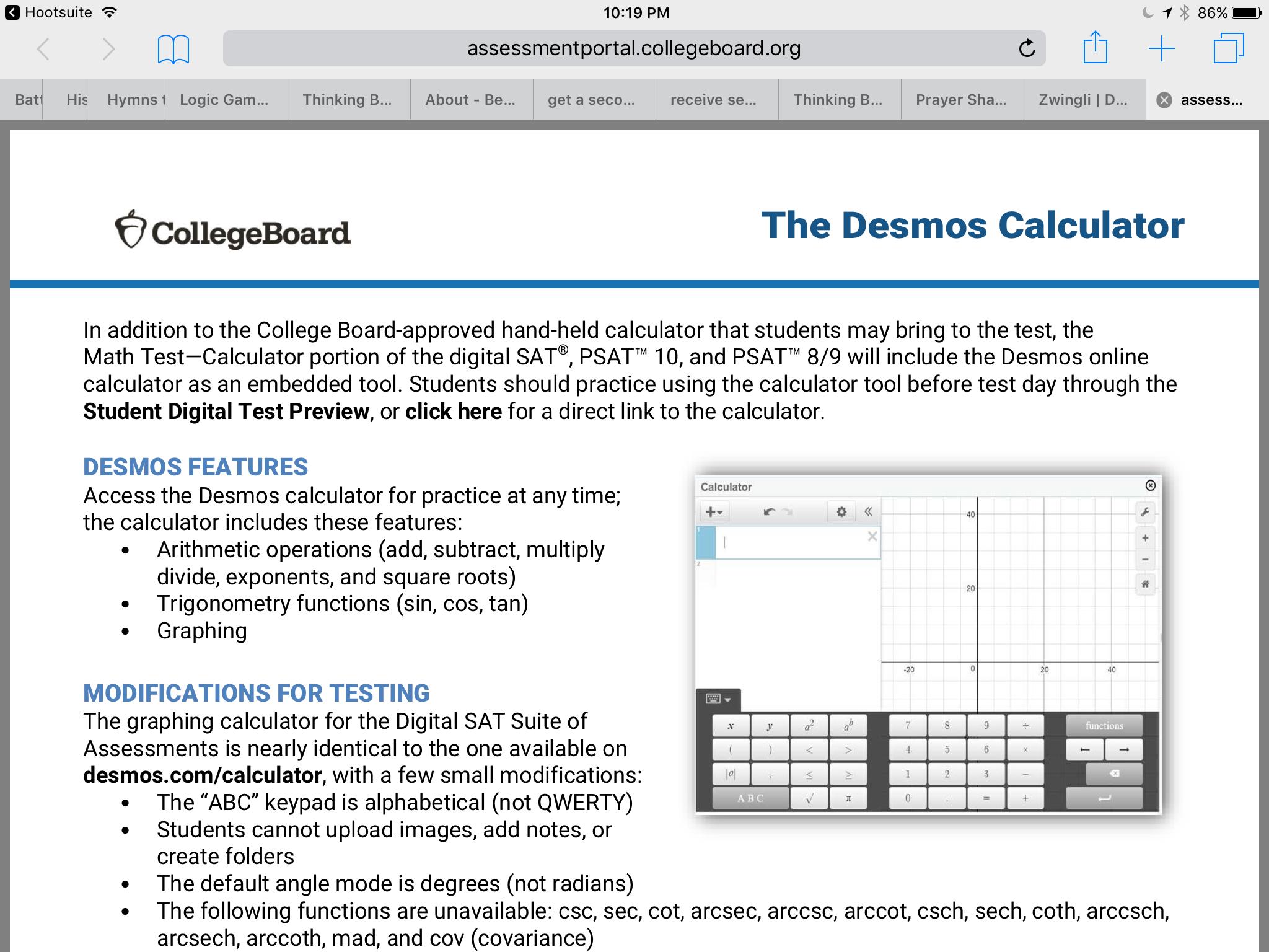 Desmos Calculator O The Sat
