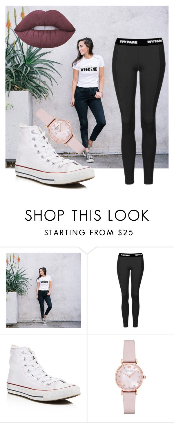 """""""Weekend Casual"""" by avawilde on Polyvore featuring Topshop, Converse, Emporio Armani, Lime Crime, casualoutfit, CasualChic, hightops, darklips and weekendbeauty"""