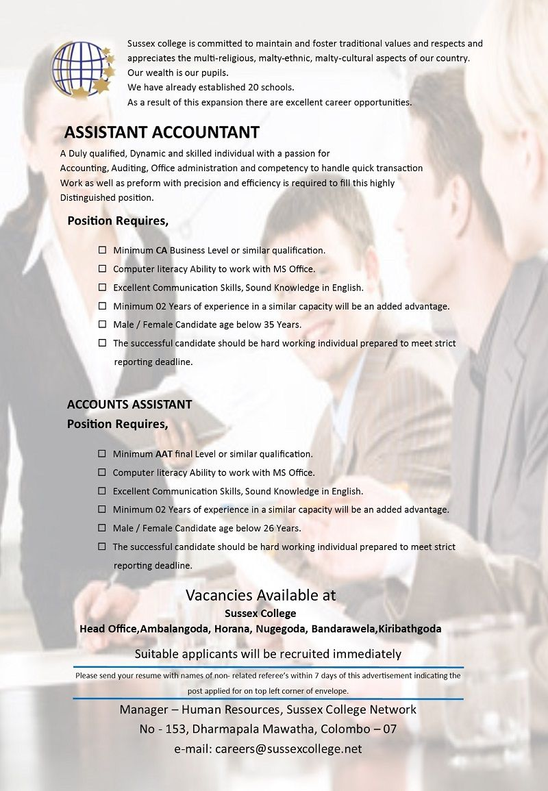 Assistant accountant at sussex college career first accounting assistant accountant at sussex college career first spiritdancerdesigns Gallery