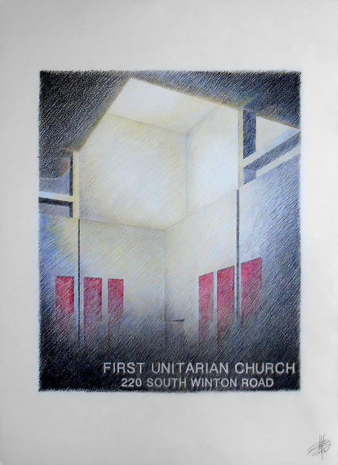 1st unitarian church - pastelli su cartoncino