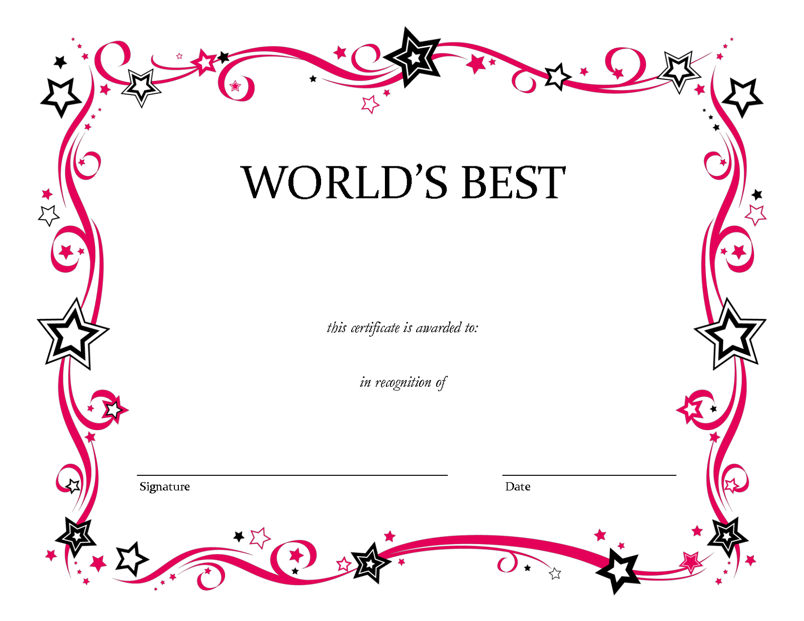 Blank Award Templates free weekly schedule template – Certificate Template Blank