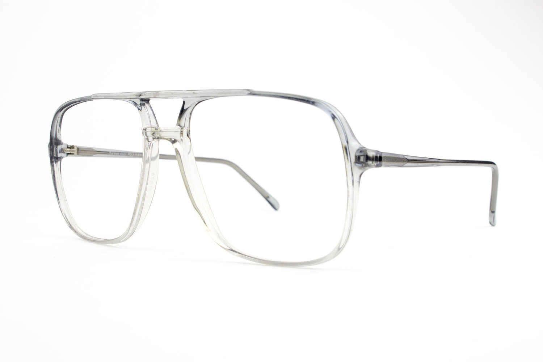 Vintage 80s Aviator Eyeglasses   Clear Grey Aviator Glasses   NOS ...