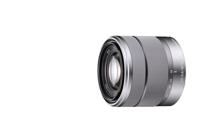 18-55mm f/3.5-5.6 Standard Zoom Lens  This lens is ideally designed for comfortable framing and capture of most subjects encountered in daily life and the Optical SteadyShot™ image stabilization makes handheld shooting in low light possible.
