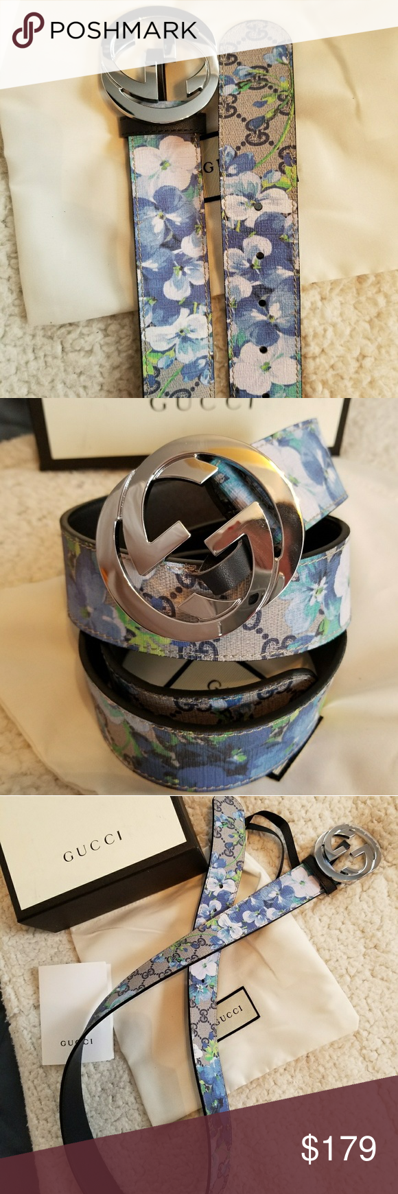 59ba214b07d 😍Authentic Gucci Belt Blue Blooms Monogram Print 😍Authentic Gucci Belt  Blue Flower Blooms Monogram Print with Silver GG Buckle. Nice!