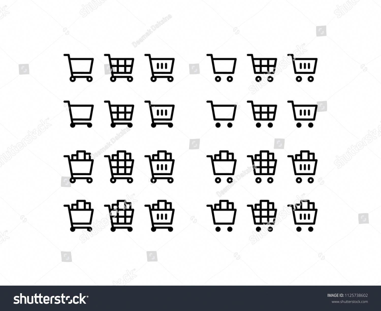 Cart Icon Set Shopping. cart, shop, buy, sale, store