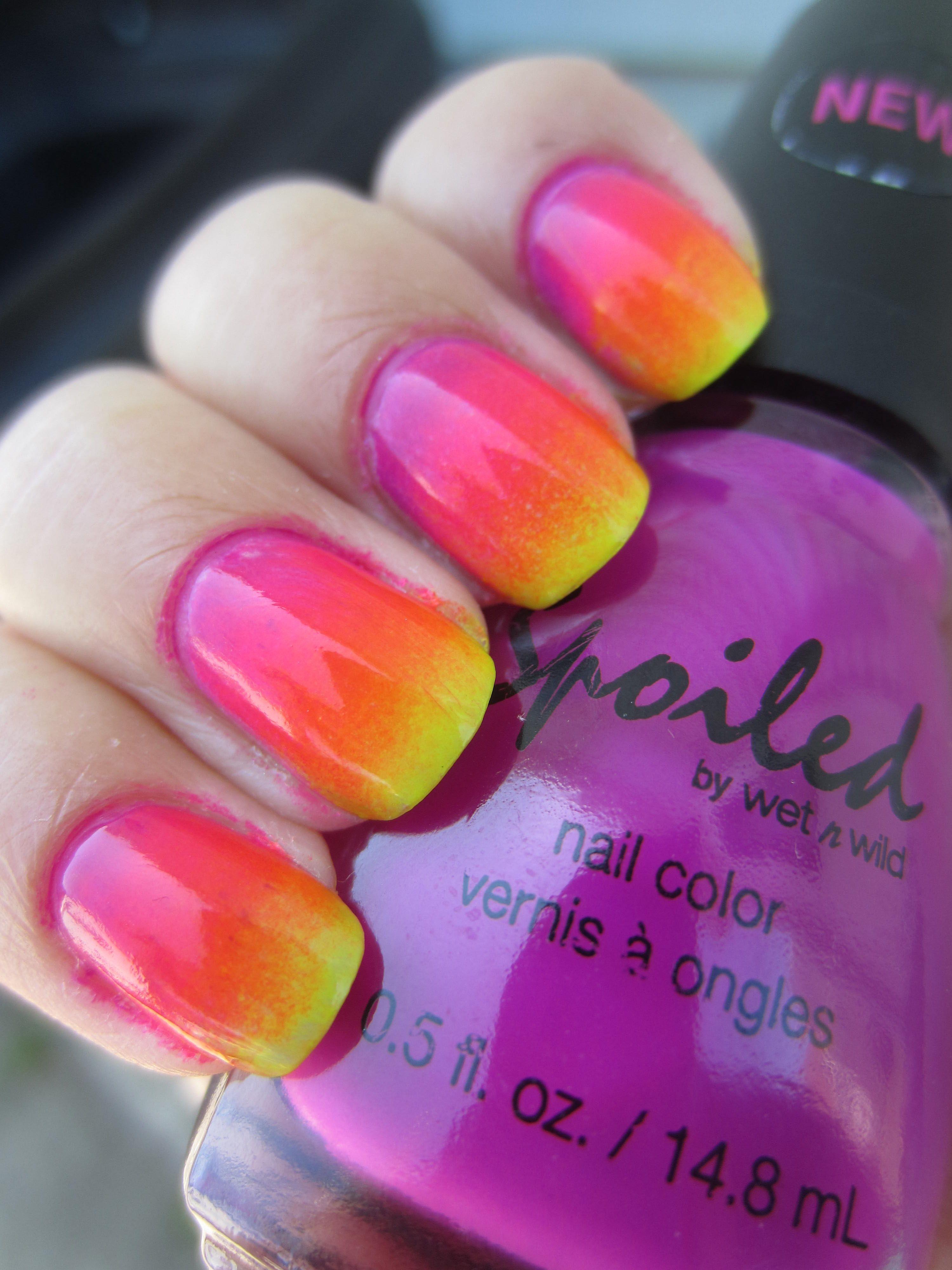 neon rainbow ombre nail polish
