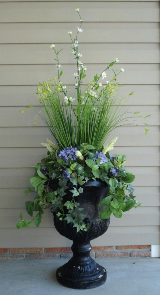 Urn With Variety Of Flowers And Greenery Love The Height