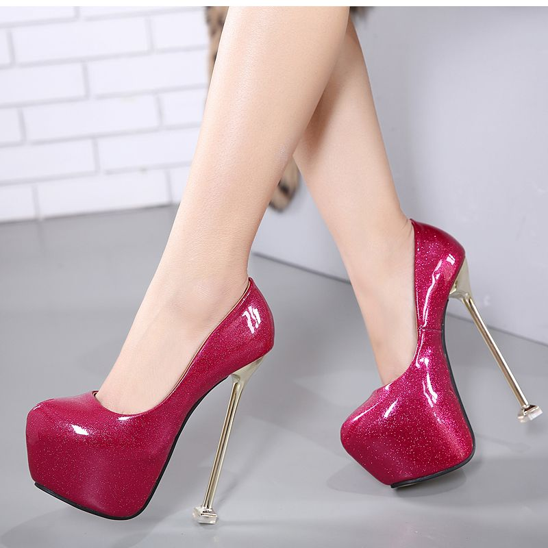 41ddbfa64dc6 16cm sexy high heels pumps women party shoes platform pumps silver wedding  shoes stiletto pink heels women s dress shoes D875.