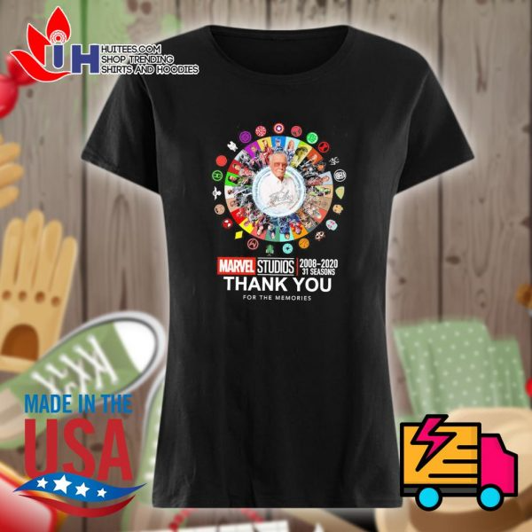 Stan Lee Marvel Studios 2008 2020 31 Seasons Signatures Thank You For The Memories Shirt Memory Shirts Unisex Hoodies Shirts
