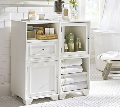 Nice Modular Bath Cabinet With Paneled Door, White