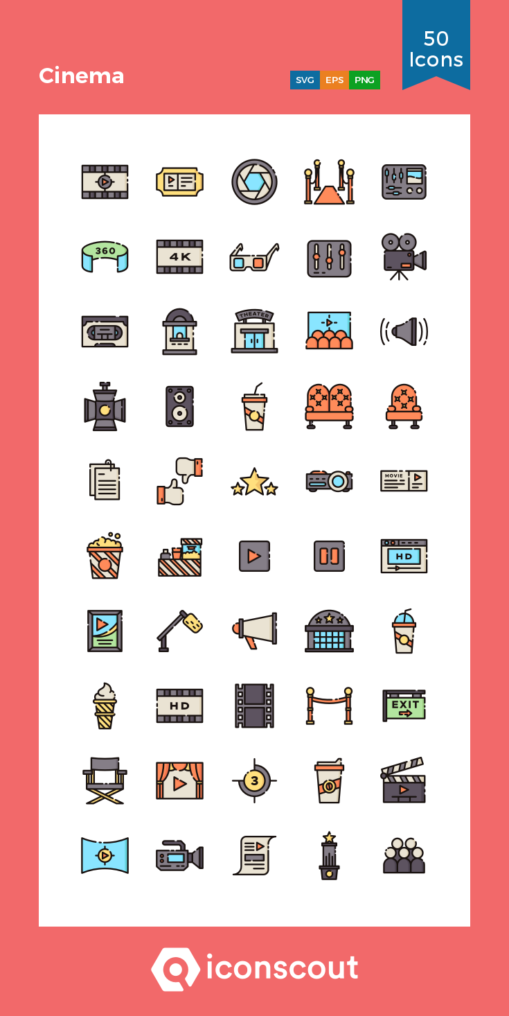 Download Cinema Icon pack Available in SVG, PNG, EPS, AI