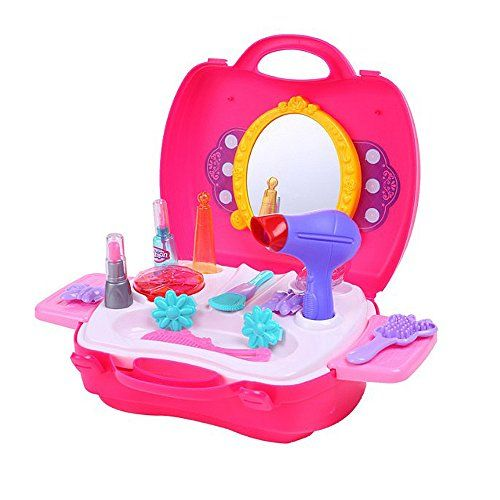 Youtop Kids Dresser with Mirror Accessories Pretend Play Makeup Set Rosy *** Click image to review more details.