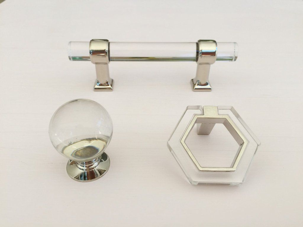 Chrome And Lucite Geometric Modern Pull   Lucite Knobs   Cabinet Knob    Brass Cabinet Hardware