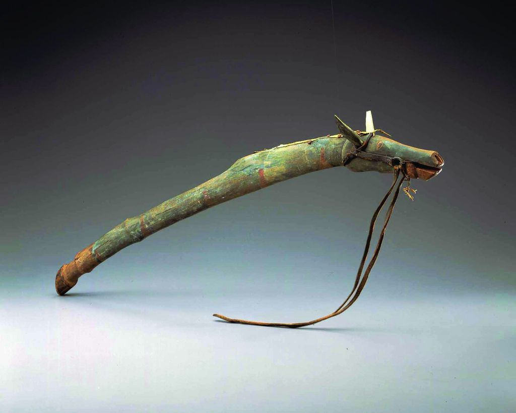 https://flic.kr/p/9ySnZ5 | Dance Stick | Dance Stick, ca. 1885, Joseph No Two Horns (1852-1942), Plains, Hunkpapa Lakota (Sioux), Standing Rock Reservation, wood, commercial tanned leather, iron, pewter, paint. WC8805005