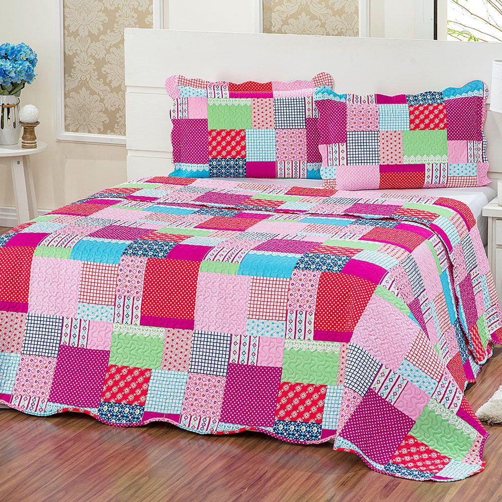 Colcha de casal jolie estampa patchwork casa baher - Casas de patchwork ...