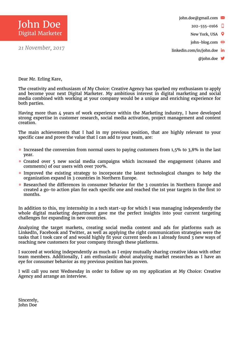 job application letter Google ፍለጋ Job cover letter