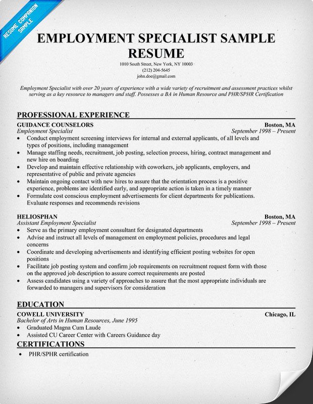 Employment Specialist Resume (resumecompanion) Resume - human resource recruiters resume