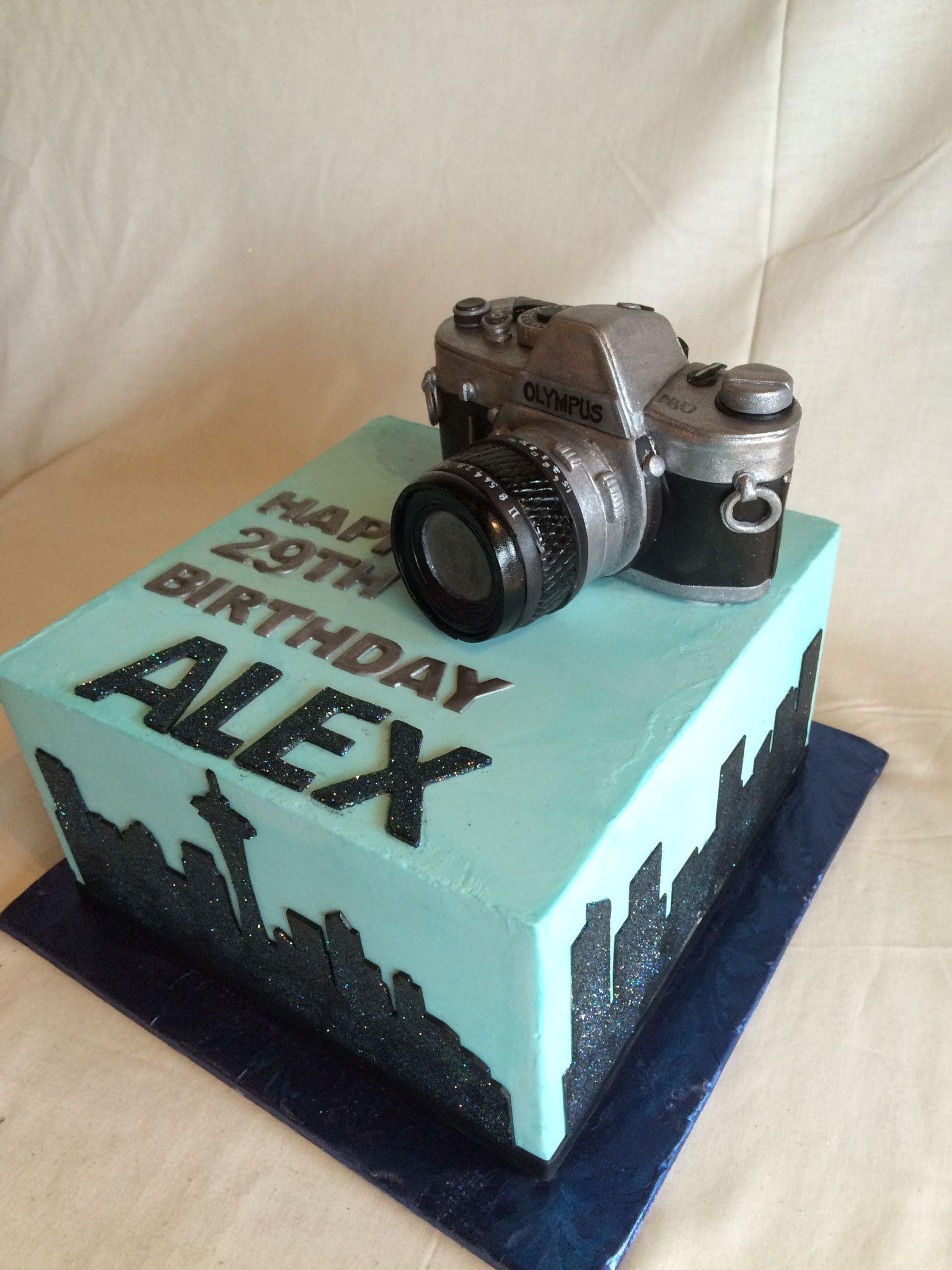 Birthday cake seattle skyline camera custom topper