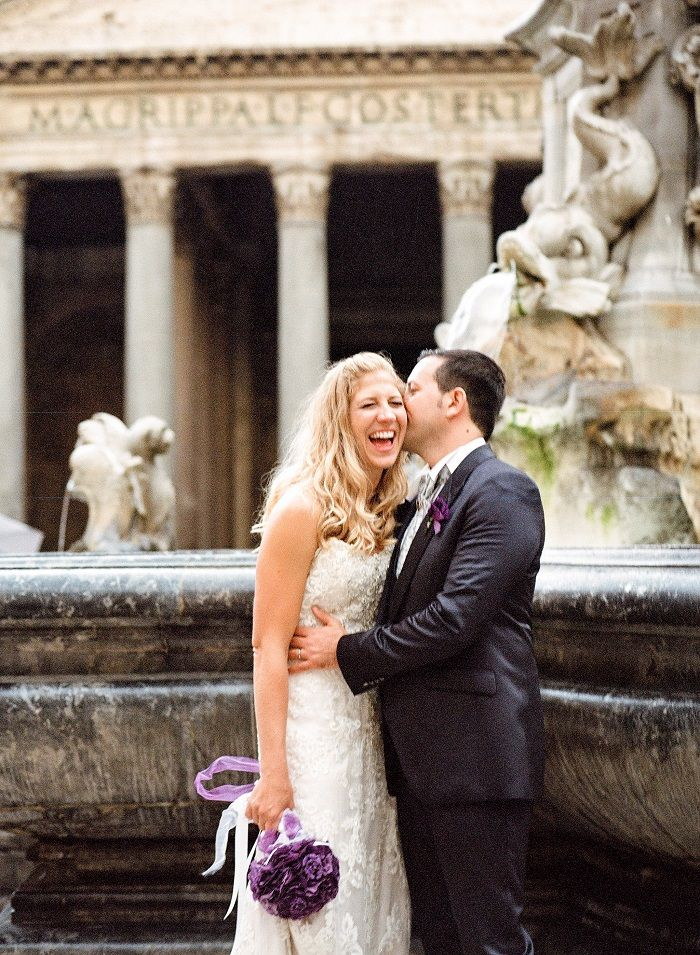 Bride and groom photo shoot | Romantic Rome Garden wedding | Rochelle Cheever Photography | Fab Mood